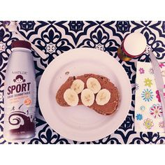breakfast is served | one egg, bread with PB and bananas and lowfat protein chocolate milk