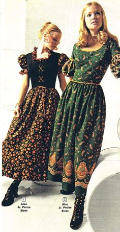 Granny Dress - Long daytime dresses, known as granny dresses, were popular among the young in the early They apparently derived from mod and hippie styles. Seventies Fashion, 60s And 70s Fashion, Retro Fashion, Vintage Fashion, Hippie Fashion, Vintage Outfits, Vintage Dresses, 1960s Dresses, Moda Floral