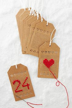 Anthropologie Embroidery Pattern Gift Tags #anthrofave #christmasgifttag #christmas #brownpaperpackages