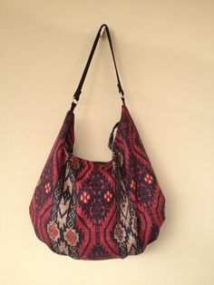 Ethnic Hobo Bag Canvas Hobo Bag Fabric Print by NormasBagBoutique