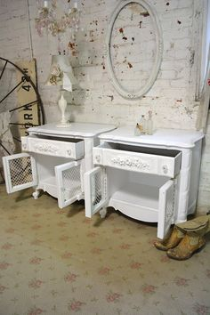 Painted Cottage Chic Shabby Pair of Romantic by paintedcottages