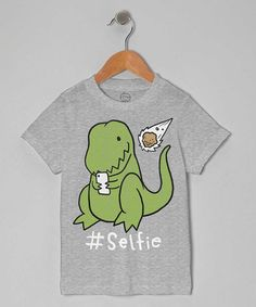 Look what I found on #zulily! Heather Gray Dinosaur '#Selfie' Tee - Toddler & Kids by Goodie Two Sleeves #zulilyfinds