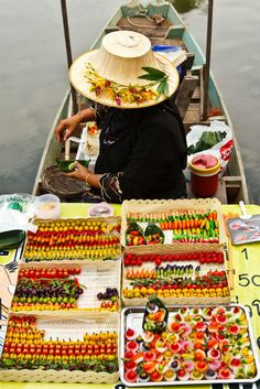 Delicious, colorful snacks of all kinds are available from this floating market in HatYai, Thailand. #food #agoda