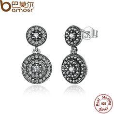Bamoer 925 plata esterlina radiante elegancia pendientes cz clara rodeado de cristales mujeres pendientes de gota de plata antigua pas471