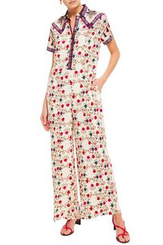 SANDRO SANDRO WOMAN DELFINE TWILL-PANELED FLORAL-PRINT JACQUARD WIDE-LEG JUMPSUIT IVORY. #sandro #cloth Printed Jumpsuit, Mother Of Pearl Buttons, Sandro, World Of Fashion, Wide Leg, Your Style, Wrap Dress, Floral Prints, Ivory