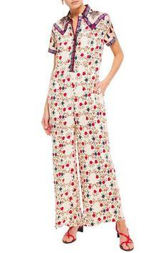SANDRO SANDRO WOMAN DELFINE TWILL-PANELED FLORAL-PRINT JACQUARD WIDE-LEG JUMPSUIT IVORY. #sandro #cloth Beach Wear Dresses, Bridal Dresses, Dress Outfits, Fashion Dresses, Wrap Dress, Dress Up, Designer Jumpsuits, One Clothing, Printed Jumpsuit