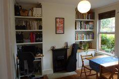 SOLD:Two bed Warner flat - Walthamstow Living Room Shelves, Home Living Room, Built In Shelves, Wooden Shelves, Flat Interior, Victorian Cottage, Two Bedroom, Ground Floor, Room Inspiration