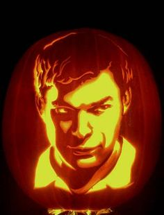 Gene Granata's take on America's most moral serial killer, Dexter. To make any visage glow brightly, safely, and creepily, use Pumpkin Masters Xtreme Strobe Flashing LED light: http://www.pumpkinmasters.com/pumpkin-carving-kits.asp.