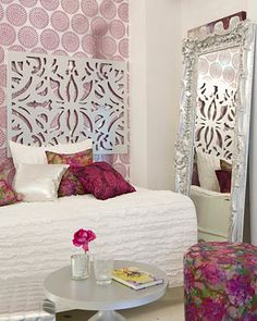 love the sophisticated combination of wallpaper and frilly bedding for an older girls room