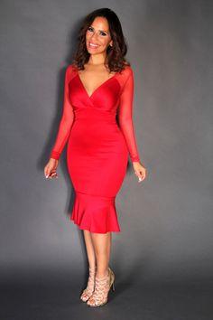 Red Plunge V-Neck Sheer Long Sleeves Mermaid Midi Dress