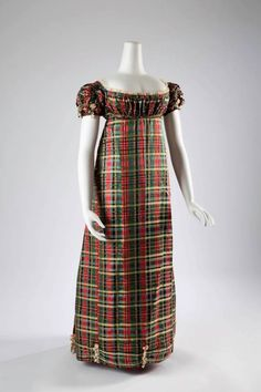 c1812, Scotland Tartan silk dress.