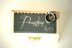 Ring Bearer Box. Customize with your name and your wedding colors. Custom Ring Bearer Box from Little Wee Shop on Etsy:  https://www.etsy.com/shop/LittleWeeShop?ref=si_shop