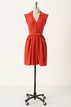 anthropologie paprika lace shirt dress