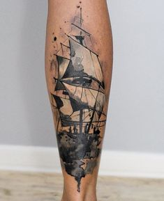 Watercolor boat calf tattoo - 100 Boat Tattoo Designs  <3 <3