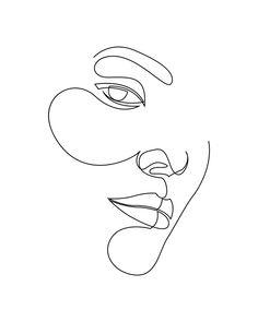 - single line drawing Art Print by addillum - X-Small Line Drawing Tattoos, Face Line Drawing, Single Line Drawing, Continuous Line Drawing, Drawing Art, Face Outline, Outline Art, Outline Drawings, Art Drawings