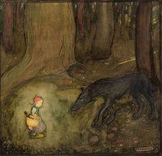 Gustaf Tenggren Illustration for Little Red Riding Hood, 1916. Watercolor.
