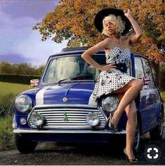 Mini Cooper Classic, Classic Mini, Classic Cars, John Cooper Works, Car Girls, Pin Up Girls, Minis, Mini Morris, Pin Up Car