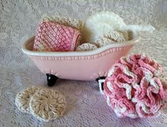 Crochet Spa Gift Set 1 Lg. Shower Pouf 1 by AllSylviasCreations
