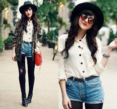 cardigan, chiffon button-up, high-waist shorts, tights/leggings, boots