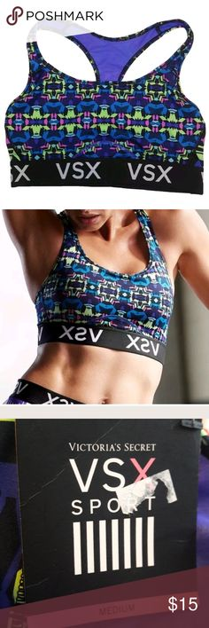 """NWT VSX VS Sports Bra Racerback Geo Print M Brand new with tags Victoria Secret Sport VSX Sports Bra, size medium. Very cute purple and blue geometric print. """"The Player"""" Racerback style. Provides medium support and has no padding or underwire. Comes from a pet free, smoke free home and will ship same or next day. Victoria's Secret Intimates & Sleepwear Bras"""