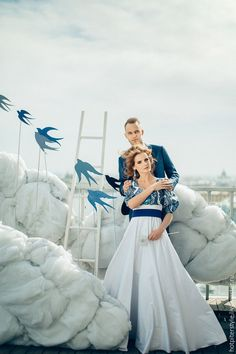 Handmade wedding dress /  Свадебное платье в Русском стиле - разноцветный, цветочный, гжель, платье невесты
