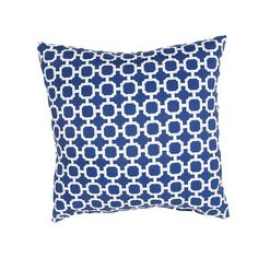 Whimsical modern coastal link pillows in bold navy and white make up the modern nautical pattern of this outdoor coastal pillow.