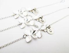 3 initial bracelets, orchid flower bracelets, flower girl gift, orchid…