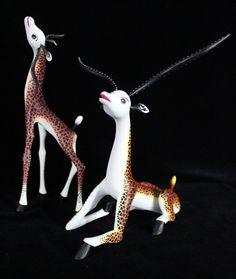 Pair of Giraffe Gazelle Hybrid Fantasy Animal Alebrije Hand Made Mexico Folk Art