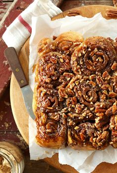 Easy Vegan Sticky Buns! Doused in a sticky glaze with pecans and SO perfect for lazy weekend mornings