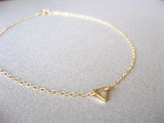 Gold Anklet, Gold Ankle Bracelet, Tiny Triangle Anklet, Ankle Jewelry, Delicate Anklet, Dainty Gold Anklet by ShebasGems on Etsy