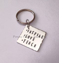 Inspire love teach keyring  teacher gift  end by PFJewelleryshop