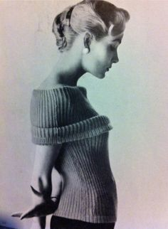 50s fashion chic EASY to make ribbed knit vintage knitting pattern by VanessaLovesVintage, $1.99
