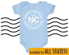 POSTMARK Special Delivery • Handle with Care Cotton Baby One Piece Bodysuit - All States and DC Infant Girl and Boy