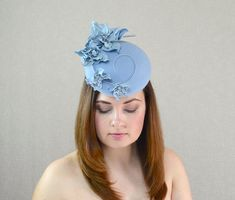 7a0c6b9d1147f Light Blue Felt Pillbox Hat Fascinator with Leather Flowers - Baby Blue  Fascinator - Races Hat - Chr