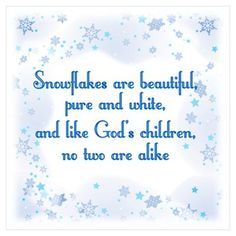 Snowflakes are butiful, pure and white, and like Lilburn Day Camp Volunteers, no two are alike