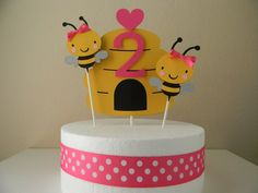 Bumble Bee Birthday Party Cake Topper Black by sweetheartpartyshop