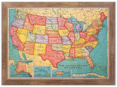 """We are excited to be the only company to design, print and build a full color US and World map on actual cork. Available in 12 wood frame options. Size 46"""" x 34"""""""