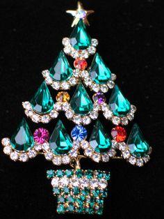 "Pear Shape Pink Purple Rhinestone Christmas Tree Pin Brooch Jewelry 3"" Stunning"