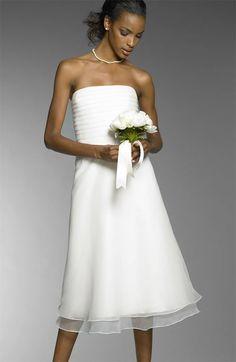 Simple Column Wedding Dress Tea Length in White Chiffon Strapless