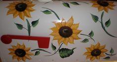 Sunflowers Mailbox Diy Mailbox, Mailbox Ideas, Propane Tank Art, Painted Mailboxes, Mail Boxes, Future Love, Sunflowers, Grandkids, Metals