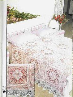 Colchas a crochet Crochet Bedspread Pattern, Afghan Crochet Patterns, Thread Crochet, Filet Crochet, Crochet Boarders, Crochet Dollies, Crochet Magazine, Crochet Tablecloth, Tatting Lace