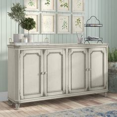 Store your extra dinnerware, flatware, and table linens in a buffet table or sideboard. Shop our great selection of stylish buffet tables and sideboards. Side Board, Open Shelving, Adjustable Shelving, Diy Home, Home Decor, Sideboard Buffet, White Sideboard, Buffet Tables, Sideboard Furniture