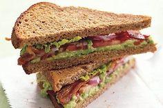 BLT with Avocado Spread recipe | Epicurious.com I Love Food, Good Food, Yummy Food, Fun Food, Healthy Snacks, Healthy Eating, Healthy Recipes, Clean Recipes, Yummy Recipes