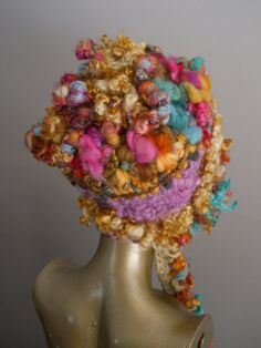 OOAK Hand Spun Curly Q Hat by designsbyamber on Etsy, $178.00