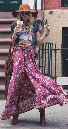 Graphic Tee + Folk Maxi Skirt Source