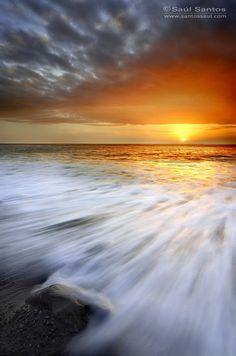 Sunset on the Fuencalinete coast in Island of La Palma, Spain