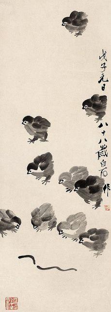 齐白石 雏趣  Painted by Qi Baishi (齊白石, 1864-1957).  China Online Museum - Chinese Art Galleries