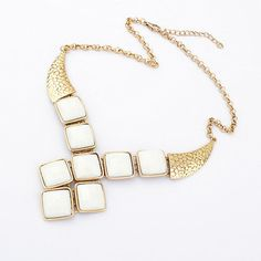 Vintage Gold Resin Geometric Gem Horn Ethnic Collar Necklace
