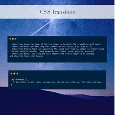 #CSS transitions allow you change a property value over a given duration. This can create a nice effect of changing something in CSS over a slower period of time instead of immediately. This can help make your webpage feel alive and can make it a bit more interesting to interact with.
