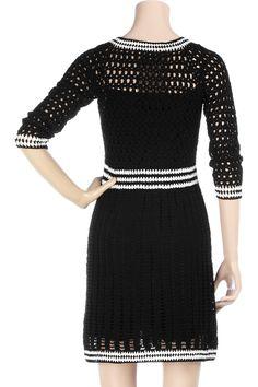 Crochetemoda: Crochet - Vestido Preto e Branco